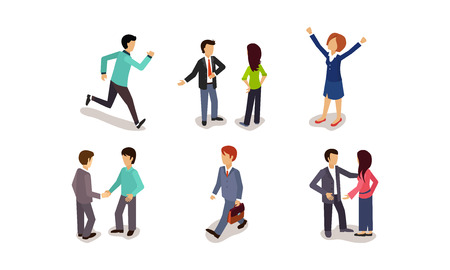 Business people set, men and women rushing to work, rejoicing success, meeting, communicating with colleagues vector Illustration isolated on a white background. Иллюстрация