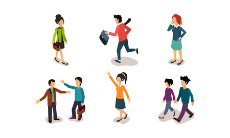 Business people and situations set, men and women rushing to work, talking on the phone, communicating with colleagues vector Illustration isolated on a white background. Иллюстрация
