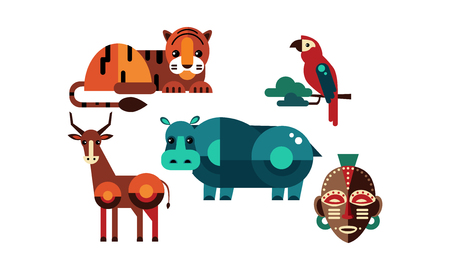 Wild African animals set, tiger, antelope, hippo, parrot, tribal mask vector Illustration isolated on a white background.