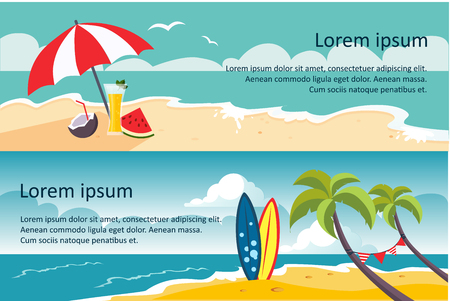 Summer travel horizontal banners, sandy beach, umbrella, sea or ocean waves, palms and surfing board vector Illustration, web design