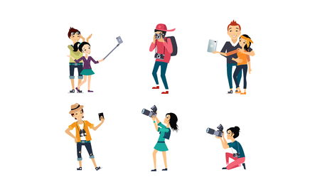 People taking photos set, professional photographer with camera, creative people doing selfie vector Illustration isolated on a white background. Çizim