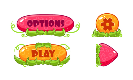 Cute glossy jelly buttons set, user interface assets for mobile apps or video games vector Illustration isolated on a white background.