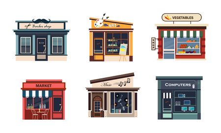 Facades of various shops set, barbery, art, vegetables, market, music, computers vector Illustration on a white background