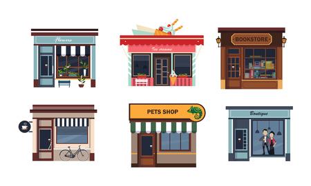 ●様々なお店セットのファサード、花、アイスクリーム、書店、カフェ、ペットショップ、ブティックベクターイラストを白い背景に