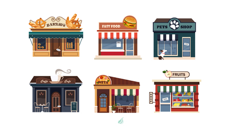 Facades of various shops set, bakery, fast food, pets shop, pizza, fruits vector Illustration on a white background 向量圖像