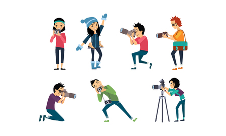 Professional photographer taking photos with camera set vector Illustration isolated on a white background.