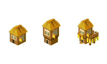 Cute little houses set, city, town or village design element for computer game Interface vector Illustration isolated on a white background.