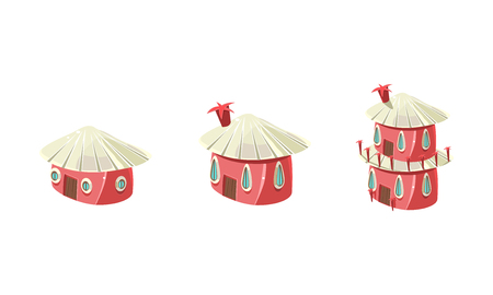 Cute little pink houses set, city or town design elements for computer game Interface vector Illustration isolated on a white background.