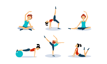 Slim young woman doing fitness workout, active healthy lifestyle concept vector Illustration isolated on a white background.