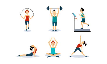 People doing sport exercises set, men and women jumping rope, running on a treadmill, doing fitness and yoga exercises, active healthy lifestyle concept vector Illustration isolated on a white background. Illustration