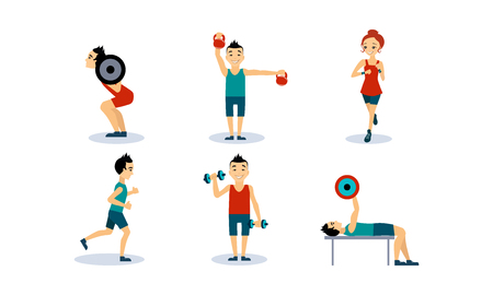 People doing sport exercises set, men and women training with barbell, dumbbell, running, doing fitness and yoga exercises, active healthy lifestyle concept vector Illustration isolated on a white background. Stock Illustratie