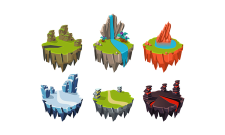 Rock islands set, fantasy elements of natural landscape, user interface assets for mobile apps or video games vector Illustration isolated on a white background.