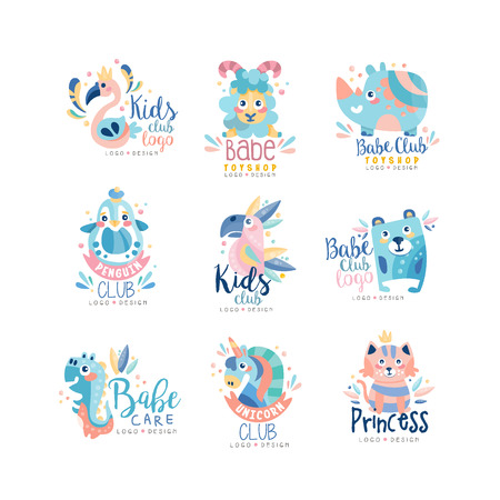 Kids club and babe toyshop design set, badges with cute animals and birds can be used for baby shop, education center, kids market and any other children projects vector Illustration