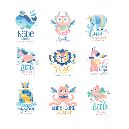 Kids club and toyshop design set, emblems with cute animals can be used for baby shop, education center, kids market, kindergarten and any other children projects vector Illustration