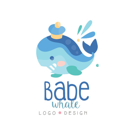 Babe whale design, emblem can be used for kids club, baby shop, kids market, kindergarten and any other children projects vector Illustration
