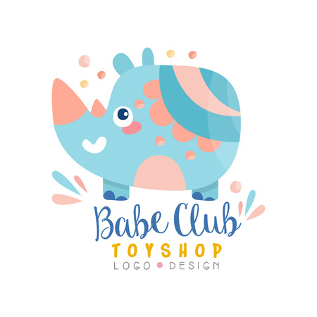 Babe club toyshop design, badge with cute rhino can be used for baby store, kids market vector Illustration on a white background