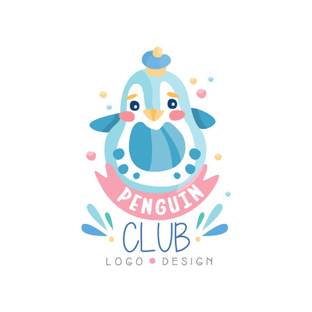Penguin club design, emblem can be used for kids education center, baby shop, kids market, kindergarten and any other children projects vector Illustration
