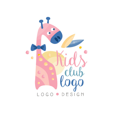 Kids club design, emblem with cute giraffe can be used for education center, baby shop, kids market, kindergarten and any other children projects vector Illustration