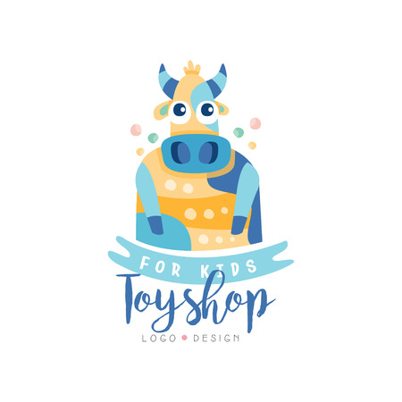 Toyshop for kids design, cute badge can be used for baby store, kids market vector Illustration on a white background Çizim