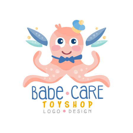 Babe care toyshop design, badge with cute octopus can be used for baby store, kids market vector Illustration on a white background