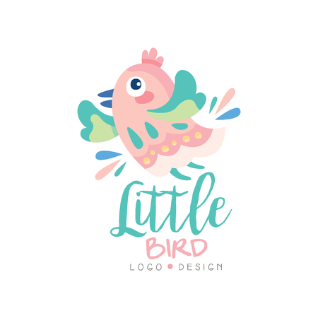 Little bird design, emblem with cute little bird can be used for kids club, baby shop, kids market, kindergarten and any other children projects vector Illustration