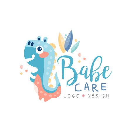 Babe care design, emblem can be used for kids education center, baby shop, club, kids market, kindergarten and any other children projects vector Illustration isolated on a white background. Illustration