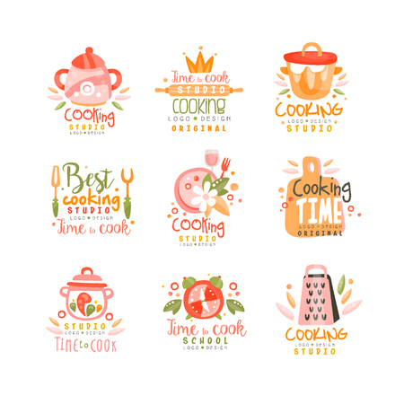 Cooking studio design set, emblem can be used for culinary class, course, school hand drawn vector Illustration on a white background