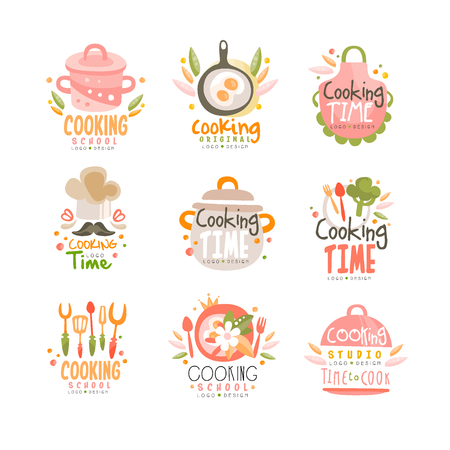 Cooking time studio design, kitchen emblem can be used for culinary class, course, school hand drawn vector Illustration on a white background