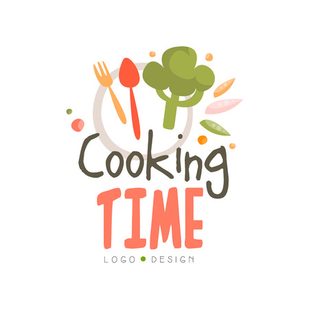 Cooking time design, hand drawn badge can be used for culinary class, course, school vector Illustration on a white background