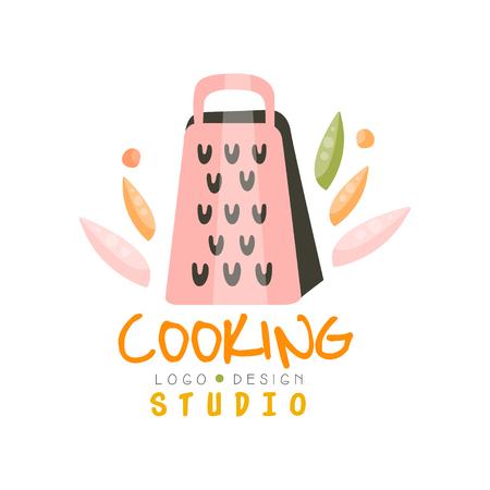 Il design dello studio di cucina, l'emblema con la grattugia può essere utilizzato per la lezione di cucina, la scuola, il vettore disegnato a mano del corso Illustration