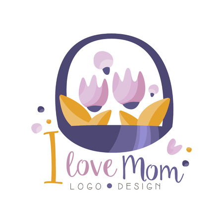 I love Mom design, Happy Mothers Day creative label basket of flowers for banner, poster, greeting card, shirt, hand drawn vector Illustration