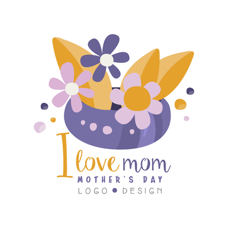I love Mom design, Happy Mothers Day creative label with flowers for banner, poster, greeting card, shirt, hand drawn vector Illustration