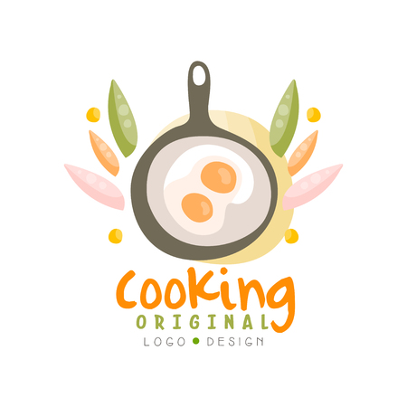 Cooking original design, kitchen emblem with frying pan and egg can be used for culinary class, school, studio hand drawn vector Illustration isolated on a white background.