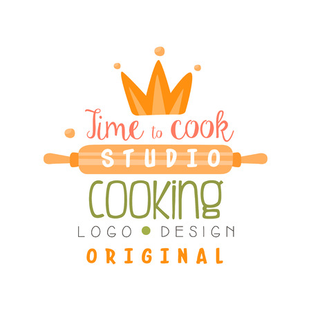 Cooking studio, time to cook design, emblem can be used for culinary class, school, course hand drawn vector Illustration isolated on a white background.