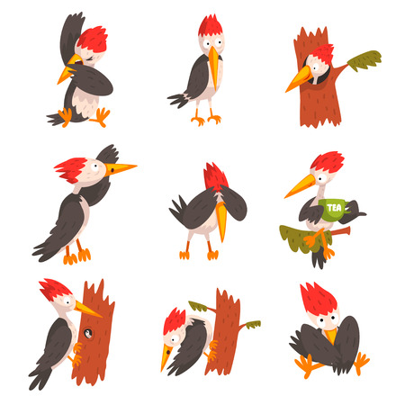 Cute woodpecker set, funny bird cartoon character in different situations vector Illustration isolated on a white background.