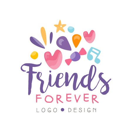 Friends forever design, Happy Friendship Day colorful template for banner, poster, greeting card, t-shirt vector Illustration