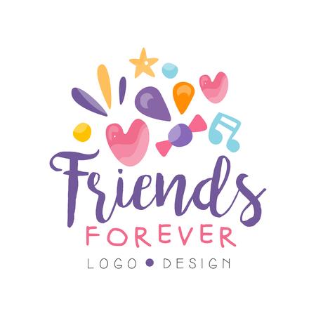 Przyjaciele na zawsze projekt, szczęśliwy dzień przyjaźni kolorowy szablon transparent, plakat, kartkę z życzeniami, t-shirt wektor ilustracja
