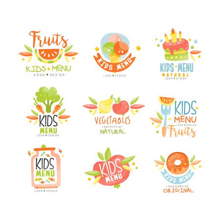 Kids menu, natural food original, colorful creative template vector