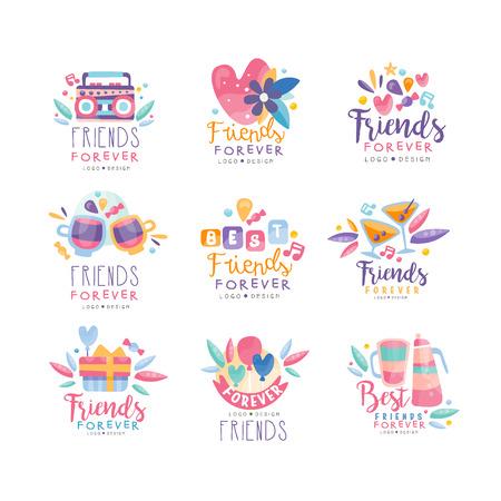 Amigos para siempre diseño conjunto, insignias creativas de feliz día de la amistad se pueden utilizar para banner, cartel, tarjeta de felicitación, camiseta vector ilustración