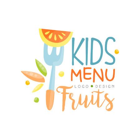 Kids fruits menu design, healthy organic food banner or poster vector Illustration