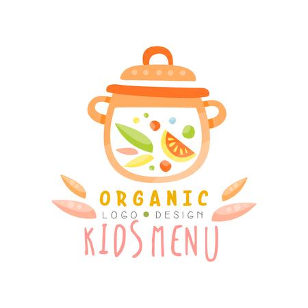 Organic kids menu design, healthy food banner or poster vector Illustration