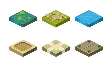 Platforms of different ground textures set, user interface assets for mobile app or video game vector Illustration isolated on a white background.