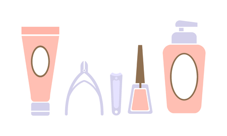 Pedicure icons set, pedicure accessory tools, design elements for nail studio, spa salon vector Illustration on a white background