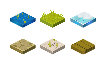 Platforms of different ground textures set, water, stone, ice, grass, wood, user interface assets for mobile app or video game vector Illustration isolated on a white background. Illustration
