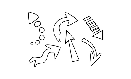 Hand drawn arrows set vector Illustration isolated on a white background.