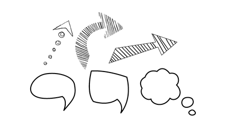Speech bubble and arrows set, hand drawn elements vector Illustration isolated on a white background. Çizim