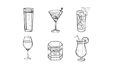 Cocktails and alcohol drinks set hand drawn vector Illustration isolated on a white background.