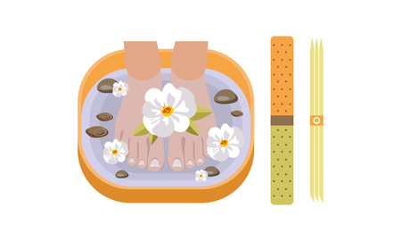 Female feet in spa bowl with water and flowers, design element for nail studio, spa salon vector Illustration, web design Illusztráció