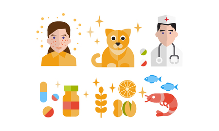 Allergy symptoms and treatment icons set, allergic reaction to animals, food, seafood vector Illustration isolated on a white background.