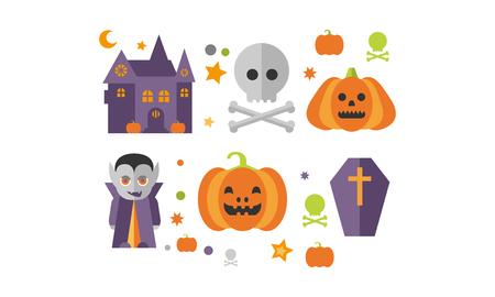 Halloween icons set, castle, vampire, skull and bones, pumpkin, coffin vector Illustration on a white background
